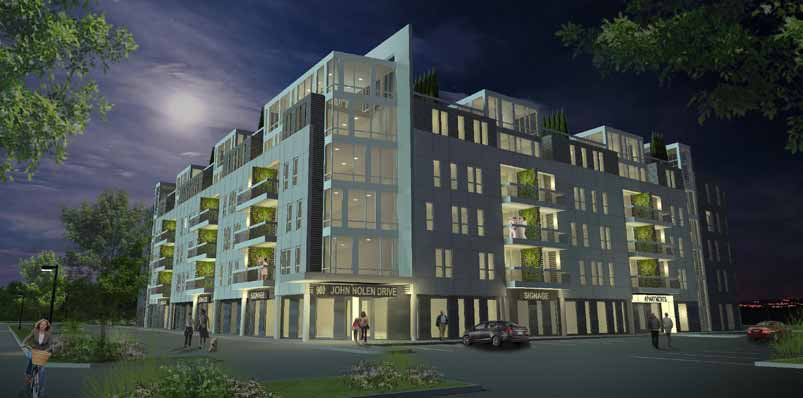 Great new, mixed-use development featuring high-end apartments and office space with outstanding views of Lake Mendota .